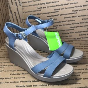 Crocs Brand New! Leigh II Ankle Strap Wedge Shoes